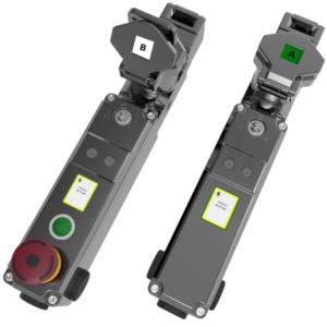 M-TS-SR egykulcsos, nyelves vezérlő kapcsoló - elektromágneses feloldás 2NC 2NO (M20) + E-stop + Nyomógomb - (Mirror Polished Fém)