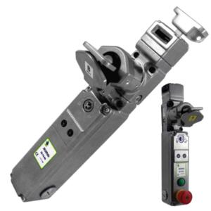 SS-TS-SR egykulcsos, nyelves vezérlő kapcsoló - elektromágneses feloldás 2NC 2NO (M20) + E-stop + Nyomógomb - (Rozsdamentes acél)