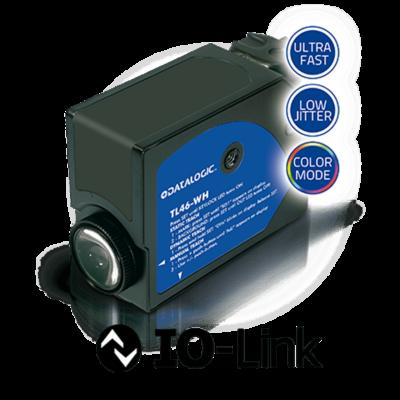 Datalogic ultra nagy sebességű optikai kontraszt érzékelő, 70 kHz kapcsolási frekvencia, 3us jitter  Sn:12 mm, Beállító gomb 4 LED, Kijelző, IO-Link PP/PNP/NPN, vertikális LED R.G.B fény,  TL46-WH-815-PZ