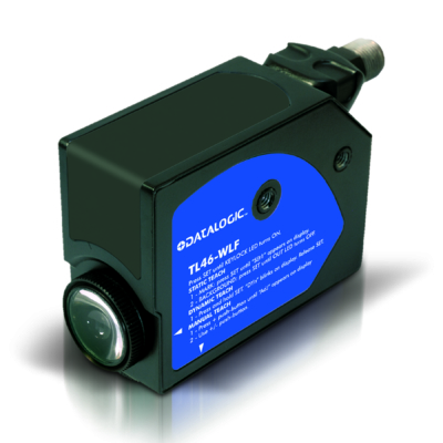 Datalogic optikai kontraszt érzékelő, Sn:12 mm, Trimmer, PNP - Dark/Light sel., vertikális LED fehér fény,  TL46-A-415