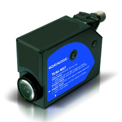 Datalogic optikai kontraszt érzékelő, Sn:12 mm, Beállító gomb, NPN/PNP - Dark/Light sel., 0-5 V, vertikális LED R.G.B fény,  TL46-W-815