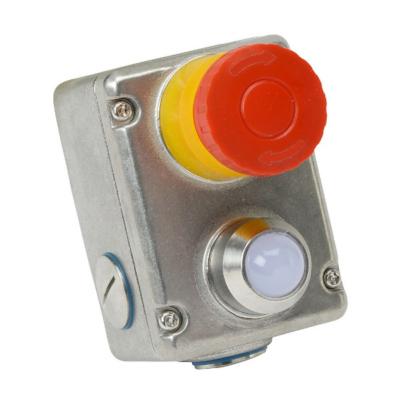 ESL-SS(L) Vész Stop Kapcsoló 2NC + 2NO,  Rozsdamentes Acél, LED 230Vac