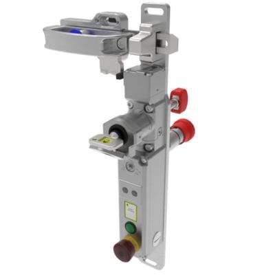 SS-TS-SR-RR egykulcsos, nyelves vezérlő kapcsoló fogantyúval és hátsó vésznyitással - elektromágneses feloldás 2NC 2NO (M20) + E-stop - (Rozsdamentes acél)